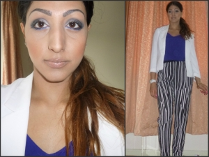 Blue makeup, highlight and contour and weekend outfit