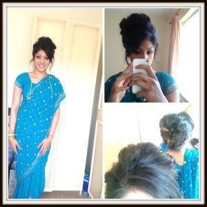 hair, sari, blue, up-do, makeup