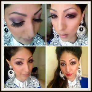 royal blue, indian, indian outfit, silver jewellry, lashes, red lips, natural hair