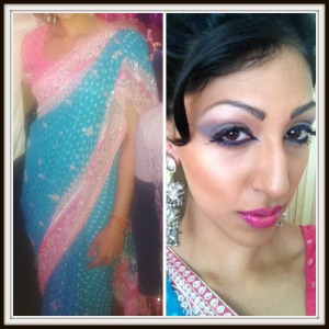 sari, silver jewellry, lashes, pink lips, natural hair, indian wear, indian outfit, indian wedding