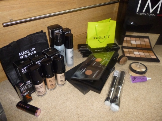 MAC, Inglot, Makeup Forever, Crown brushes, RCMA palette, BEN NYE banana powder, OCC lip tar
