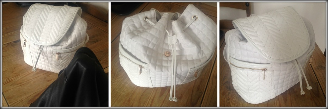 River Island white quilted rucksack