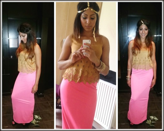 MISSGUIDED SKIRT AND GOLD ACCESSORIES